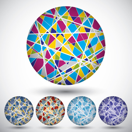 interlace: Set of bright segmented knitted spheres, geometric colorful figures separated by white lines.