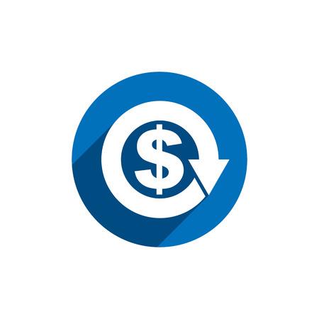dollaro: Soldi del dollaro con freccia vettore semplice economia concettuale singolo colore e tema di icone di business. Vettoriali