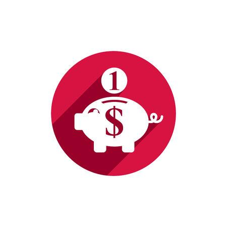 banco dinero: Dinero Hucha, icono del vector.