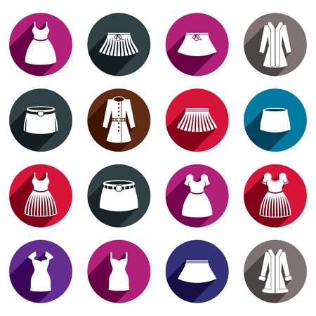 skirts: Dresses and skirts vector icon set.