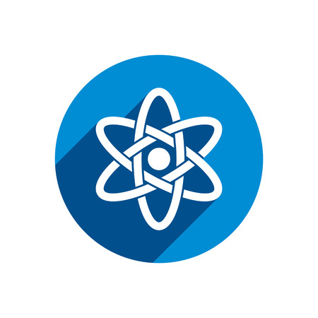 fission: Atom part on white background vector icon.