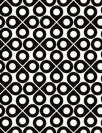 охватывающей: Черный и белый вектор декоративные бесшовные узор с капель и горошек, монохромный бесконечное фон с четырехлистников, бесконечные абстрактный покрытие.