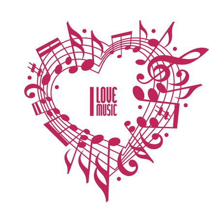 I love music concept, single color design. Heart made with musical notes and clef, black and white design, contain copy space inside for your text, music theme vector design template. Ilustrace
