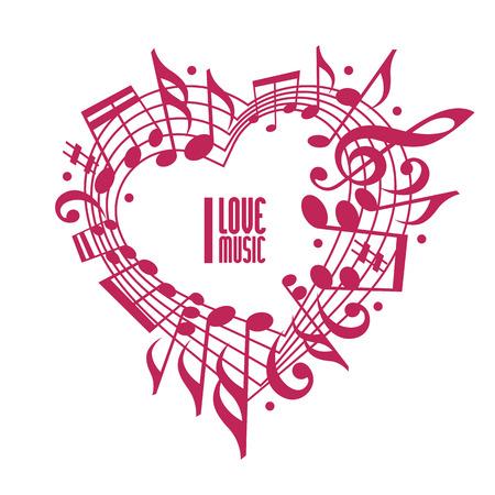 J'adore concept de musique, conception de la couleur unique. Coeur orné de notes musicales et la clef, design noir et blanc, contient copie espace à l'intérieur pour votre texte, thème de la musique modèle de conception de vecteur. Banque d'images - 31986427