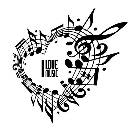나는 음악 개념, 검은 색과 흰색 디자인을 사랑합니다. 음악 노트와 음자리표, 검은 색과 흰색 디자인으로 만든 심장, 텍스트, 음악 테마 벡터 디자인