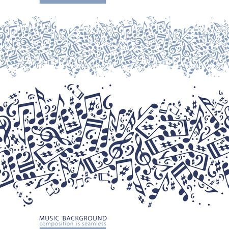 notas musicales: Uno de color lienzo m�sica horizontal, vector cinta sin fisuras con las notas musicales a rayas sobre fondo blanco.