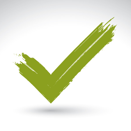 validate: Hand drawn validation icon scanned and vectorized, brush drawing green checkmark tick, hand-painted navigation symbol isolated on white background.