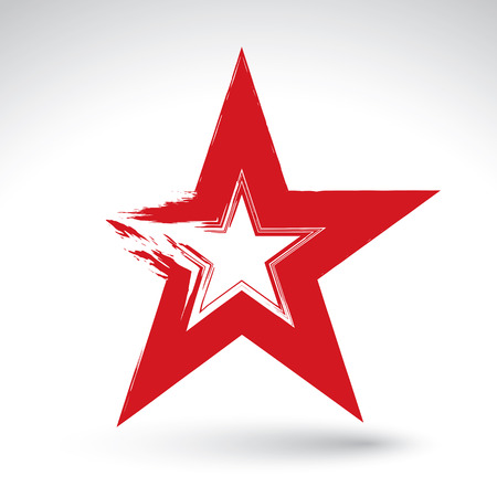 Hand drawn soviet red star icon scanned and vectorized, brush drawing communistic star, hand-painted USSR symbol isolated on white background.