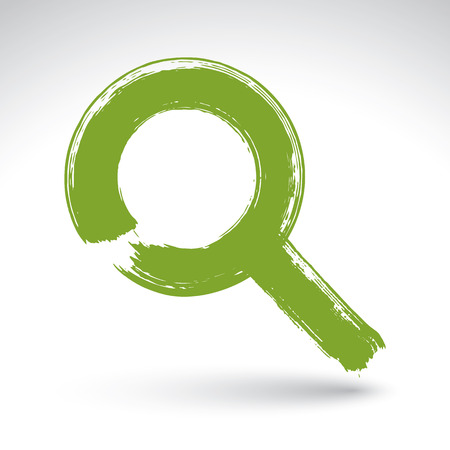 lens brush: Hand-painted green magnifying glass icon isolated on white background, simple loupe symbol created with real ink hand drawn brush, scanned and vectorized. Illustration