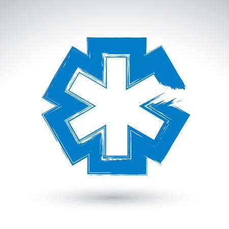 simbolo medicina: Cepille dibujo sencillo s�mbolo azul ambulancia, icono de la medicina, creado con el cepillo de tinta dibujado mano real escaneada y vectorizada.