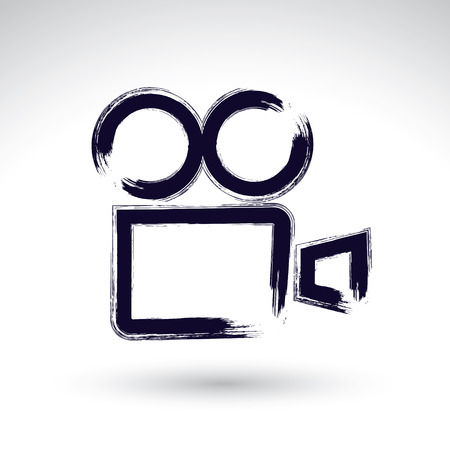 Realistic ink hand drawn vector video camera icon, simple hand-painted camera symbol, isolated on white background. Illustration