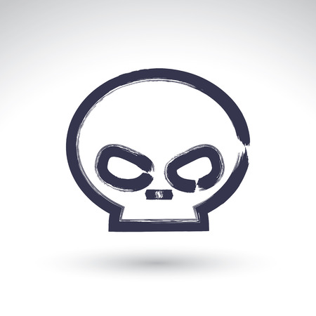 sapiens: Brush drawing simple human skull, painted medicine icon, created with real hand drawn ink brush scanned and vectorized.