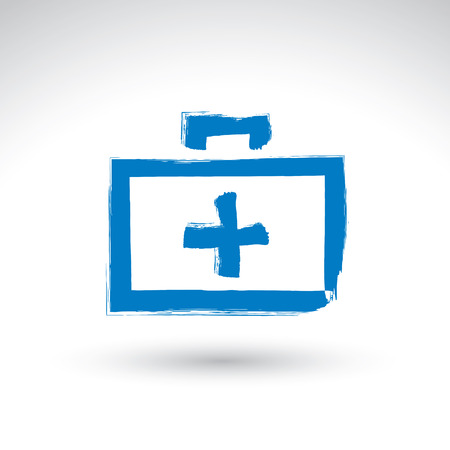 Brush drawing simple blue first aid kit, medicine icon, created with real hand drawn ink brush scanned and vectorized. Vector