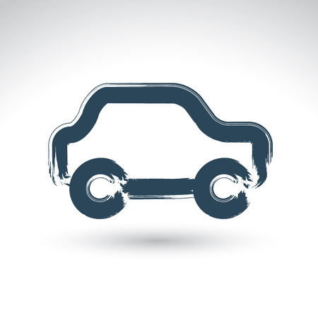 daub: Hand drawn blue car icon, illustrated brush drawing passenger car, hand-painted automobile isolated on white background, transportation icon.