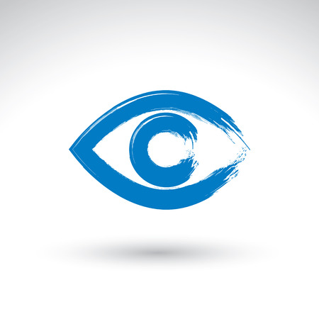 Hand drawn human eye icon, brush drawing blue medicine sign, original hand-painted eye isolated on white background. Vector