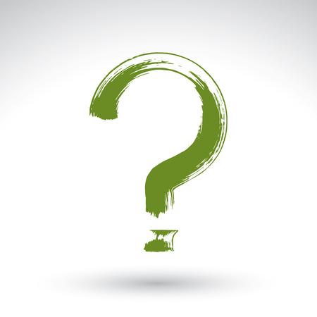 punctuation mark: Mano dibujado icono de signo de interrogaci�n, pincel de dibujo Consulta signo, marca de puntuacion pintado a mano original aislada en el fondo blanco.