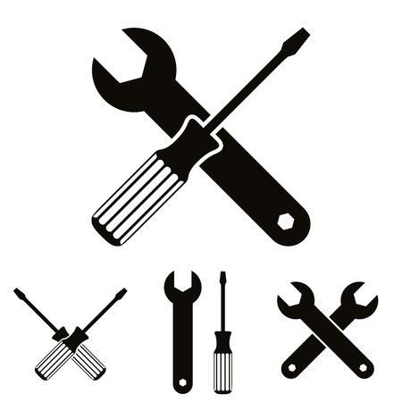 Ikona Naprawa zestaw z kluczami i śrubokręty, wektor.