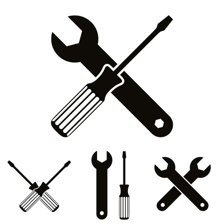 screw key: Repair icon set with wrenches and screwdrivers, vector.