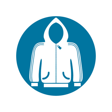 vamp: Cloth icon, vector illustration of sweater with a hood.