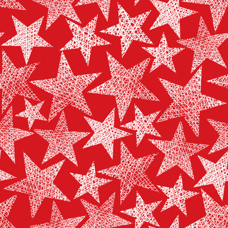 doodle art: Red stars seamless pattern, vector repeating background with hand drawn lines textures.