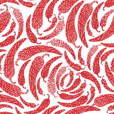 Mexican food theme seamless background, Red Hot Chilly Peppers seamless pattern, vector, hand drawn lines textures used. Illustration