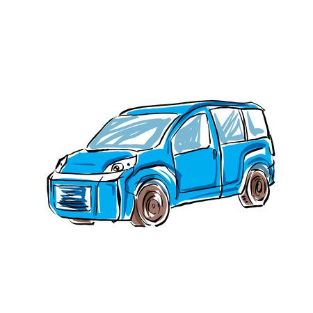 minivan: Colored hand drawn car on white background, illustration of a minivan. Illustration