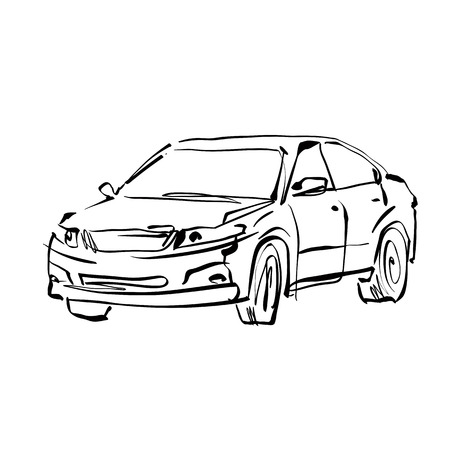 Monochrome hand drawn car on white background, black and white illustrated sedan. Vector