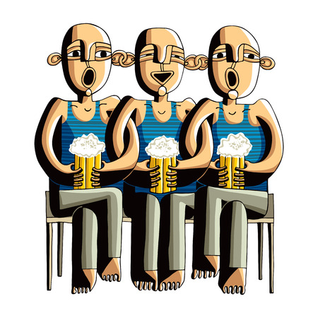 bock: Three drinking hairless men sitting on a wooden bench, singing friends dressed in blue striped t-shirts. Illustration