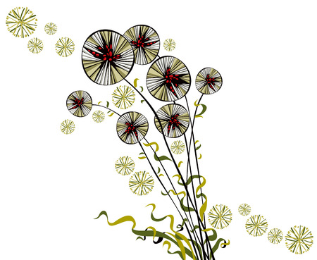 Bright joyful hand drawn spherical sectored dandelions with wavy ribbons. Vector