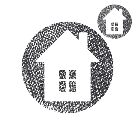 home icon: House simple single color icon isolated on white background with sketch lined hand drawn texture.