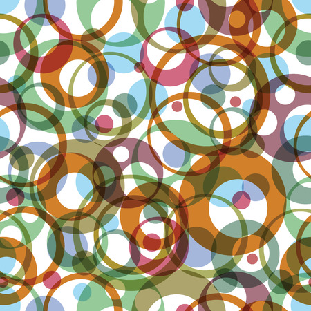Vector bright round rainbow circles on white background, textile pattern. Vector