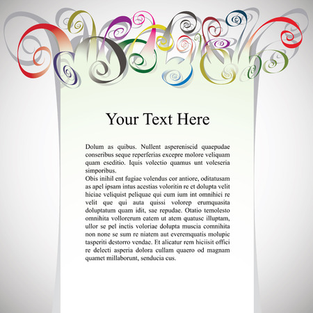 inscriptions: Framing with curly colorful ribbons for greetings and inscriptions.