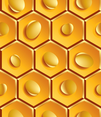 Bright geometric yellow segmented background, gold decorative honeycombs with drops. Vector
