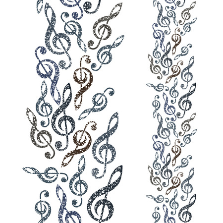 clefs: Music theme seamless vector background, vertical composition, seamless pattern with clefs, hand drawn lines textured.