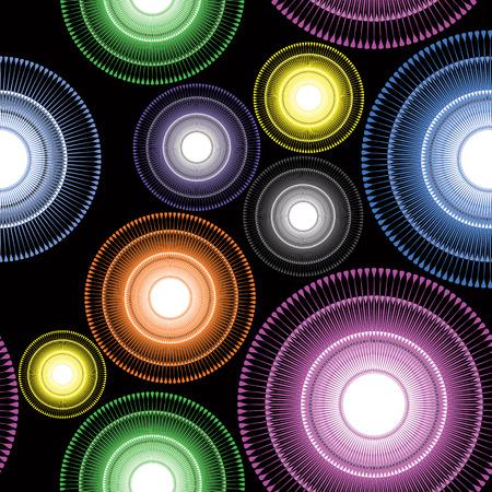 marvel: Bunte gestreifte Kreis floral geometrische Elemente auf schwarzem Hintergrund. Illustration