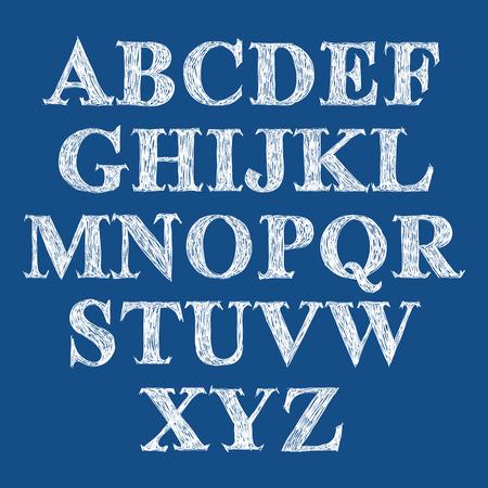verb: Fuente manuscrita Scribble, vector fresco roz� alfabeto.