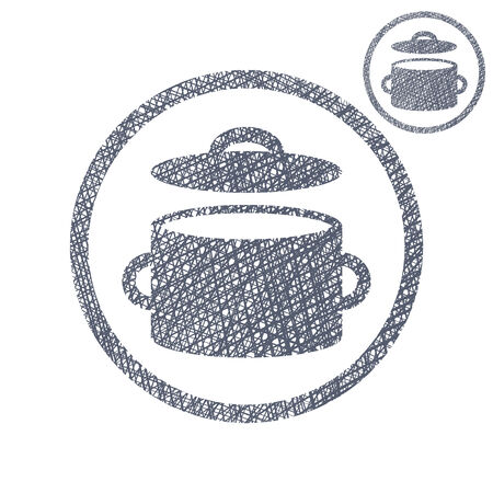 Saucepan pot vector simple single color icon isolated on white background with sketch lined hand drawn texture. Vector