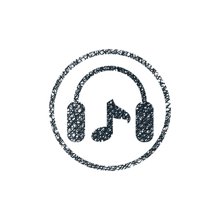 Headphones with music note vector icon with hand drawn lines texture. Vector