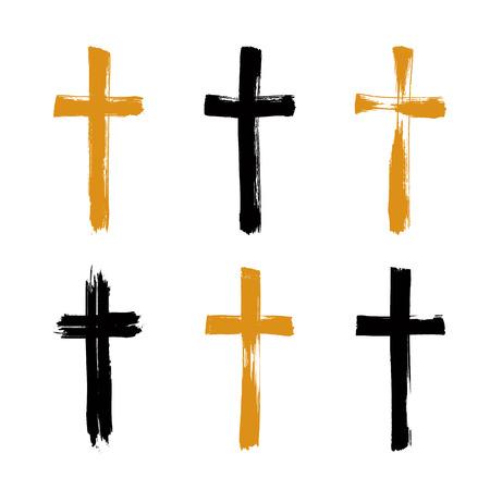 Set von Hand gezeichnet schwarz und gelb Grunge Kreuz-Symbole, Sammlung von einfachen christlichen Kreuz Zeichen, handbemalte Kreuzsymbole mit echten Tinte Pinsel isoliert auf weißem Hintergrund erstellt. Illustration