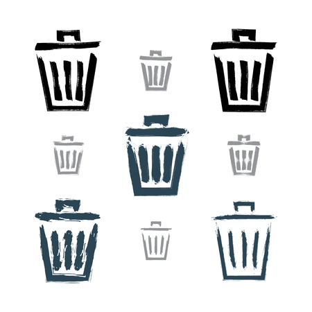 Set of hand-painted simple vector trash can icons isolated on white background, collection of monochrome dustbin symbols created with real hand-drawn ink brush scanned and vectorized.