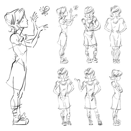 adolescent: Set of vector full-length hand-drawn Caucasian teens, black and white front and side view sketch of a girl catch a butterfly, monochrome illustration of standing adolescent with hand crossed on chest, akimbo.  Illustration