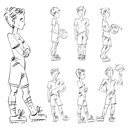 adolescent: Set of vector full-length hand-drawn Caucasian teens, black and white front and side view sketch of a boy with a spinning ball on his finger, monochrome freehand illustration of standing adolescent holding a soccer ball, sketch of a youngster with hands c