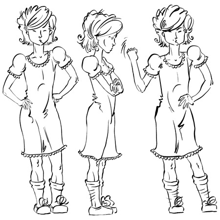 adolescent: Set of vector full-length hand-drawn Caucasian teens, black and white front and side view sketch of an angry girl threatening the fist, monochrome illustration of standing adolescent with hand crossed on chest, akimbo.