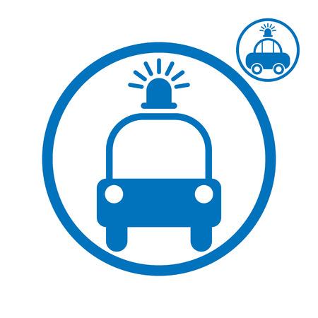 simplistic icon: Police car simplistic vector icon.