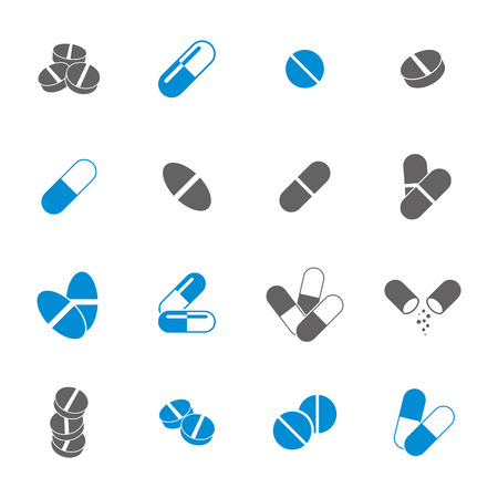 pills: Medical pills icons set, vector collection.