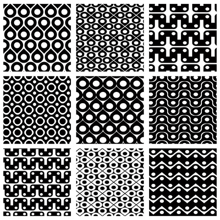 Set of grate seamless patterns with geometric figures, ornamental monochrome wavy tiles, infinite geometric surface textures with squares and ovals, black and white abstract tiling. Vector