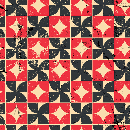 crannied: Vintage bright red and black geometric seamless pattern, contrast abstract background.
