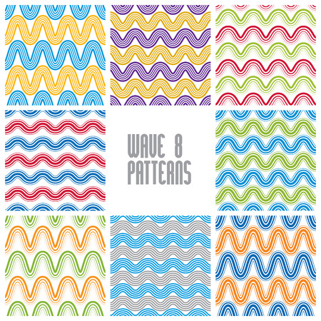 Waves seamless patterns set, colorful geometric vector backgrounds collection. Vector