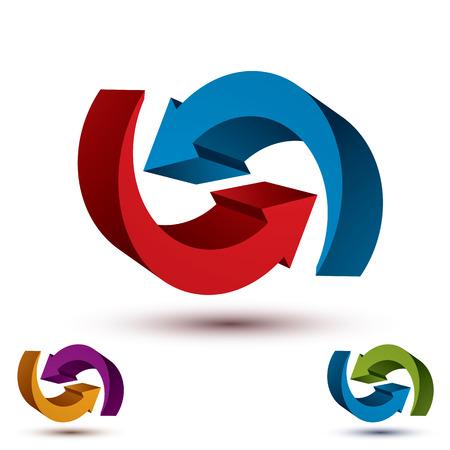 infinite loop: Infinite loop arrows vector abstract symbol, graphic design template 3d pictogram set.