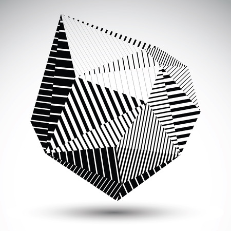 misshapen: Multifaceted eps8 asymmetric contrast figure with parallel lines. Striped single color misshapen abstract vector object constructed from graffiti triangles.
